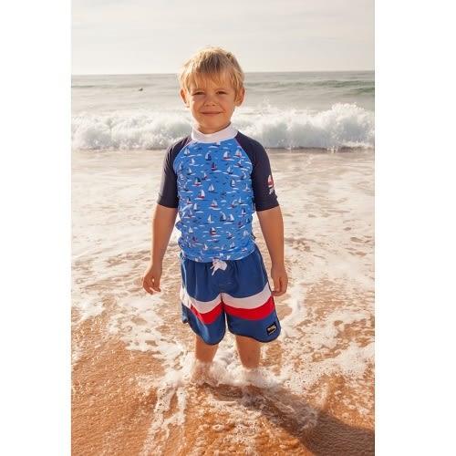 兒童泳衣 防曬短袖上衣+海攤褲 (網狀內裡可下水) 套組 帆船系列 澳洲鴨嘴獸 (小男4-8歲)