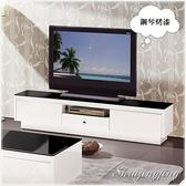 【水晶晶家具】風見6呎白色鋼琴烤漆強化黑玻電視長櫃 ZX8406-3