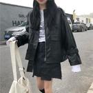 外套春季新款韓版酷女孩穿搭bf風夾克上衣寬鬆學生帥氣皮衣外套女
