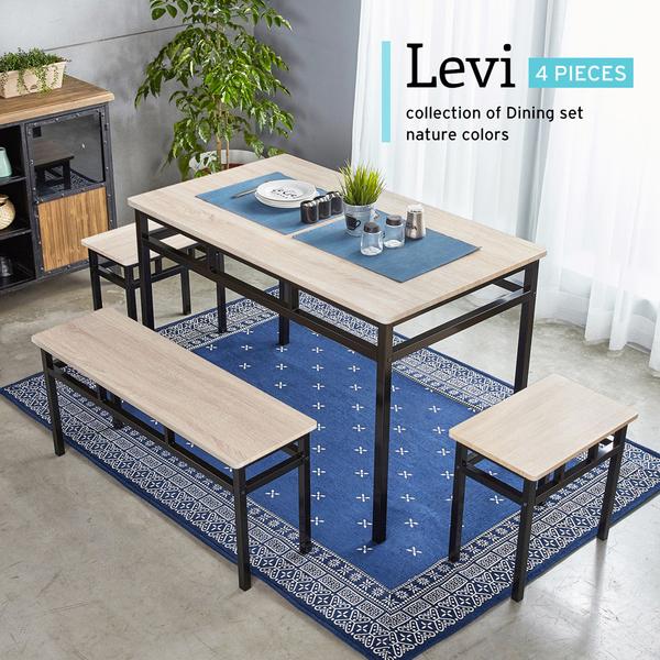 李維工業風個性鐵架餐桌椅/4件式(1桌1長2凳)/H&D東稻家居