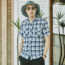 ADISI 男N66 四面彈透氣速乾短袖格紋襯衫AL2011105-1 (3XL) 大尺碼 / 城市綠洲 (四向彈性、防曬、速乾)