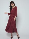 秋冬7折[H2O]甜美風裙身百褶設計八分泡泡袖雪紡長洋裝 - 紅/黑/粉色 #9634007