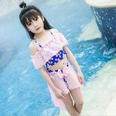 兒童泳衣可愛印花裙裝分體泳衣吊帶沙灘泳裝  XY1434  【男人與流行】