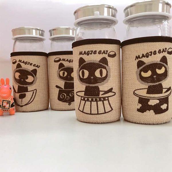水杯【KCG088】仿麻布小黑貓玻璃水杯380ml 水瓶 瓶子 咖啡杯 隨行杯 水壺-123ok