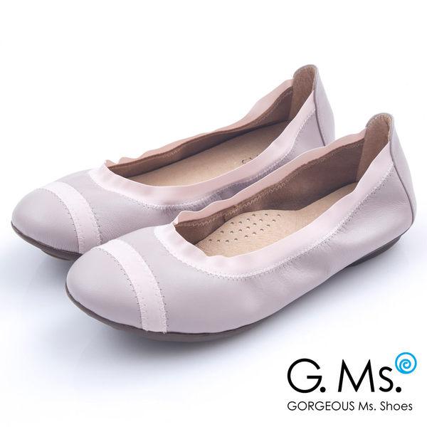 G.Ms.*  MIT系列-織帶拼接羊皮娃娃鞋*恬淡紫