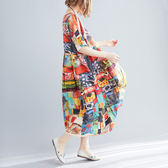 全網批發2千免運大碼女裝短袖洋裝927文藝風大碼胖MM200斤寬松顯瘦連身裙ZM3FC005朵維思