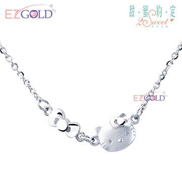Hello Kitty凱蒂貓-時尚戀人-銀飾項鍊(鎖骨鍊)