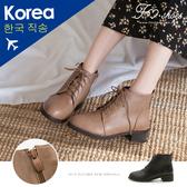 靴.皮質繫帶粗跟短靴-大尺碼-FM時尚美鞋-韓國精選.Fabulous