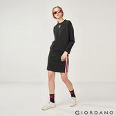 【GIORDANO】女裝織帶條紋運動及膝短裙-09 標誌黑