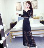 禮服名媛氣質圓領長袖修身顯瘦百搭蕾絲連身裙長裙女 法布蕾輕時尚