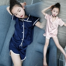 兒童睡衣女夏仿真絲冰絲套裝薄款短袖親子裝中大童女童絲綢家居服 米娜小鋪