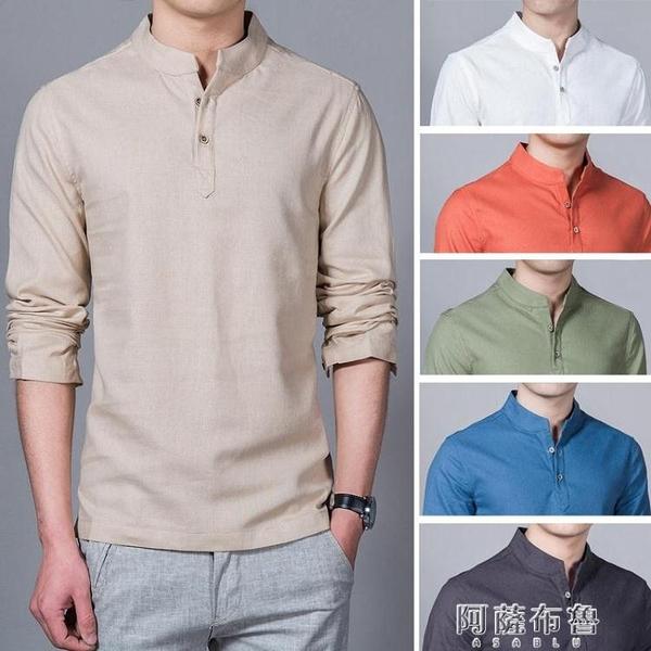 短袖襯衫男 Men Cotton Linen Shirt Stand Collar Casual Male Shirts 阿薩布魯