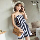 東京著衣-tokicho-海洋風平口橫條紋連身褲-S.M(171365)