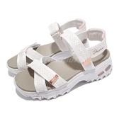 Skechers 涼鞋 D Lites 女鞋 白 玫瑰金 厚底 增高 夏日必備 涼拖鞋【ACS】 119241WTRG