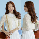 9356-JK*甜美公主風鏤空蕾絲領口釘珠雪紡荷葉造型小外套-美之札