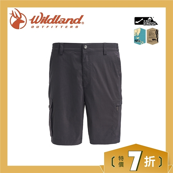 【Wildland 荒野 男 彈性透氣抗UV短褲《深灰》】0A71392/吸濕排汗/休閒褲/抗紫外線/登山/旅遊