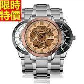 機械錶-自動鏤空雙面精鋼時尚男腕錶3色66ab11【時尚巴黎】