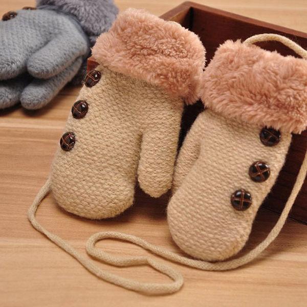 冬季保暖兒童款 加厚掛繩包指手套 兒童手套 (不挑色) EUVG21764