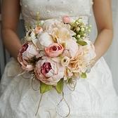 結婚影樓拍照道具新娘手捧花仿真韓式森系清新假花中式西玫瑰牡丹