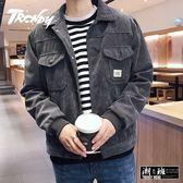 『潮段班』【HJ003040】秋冬韓版復古港式風格燈絲蕊夾克