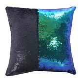 魔術DIY雙色亮片方型抱枕.靠枕_藍綠黑