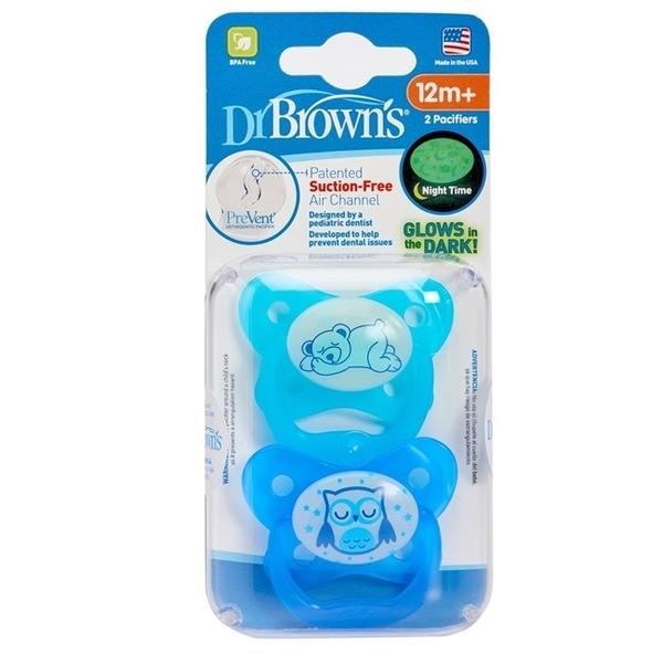 美國Dr Brown 布朗博士PreVent功能性夜光安撫奶嘴 藍2入6-12個月