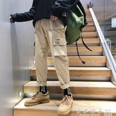 ins潮牌加絨秋冬工裝褲男cargo寬鬆直筒闊腿秋hiphop港風chic褲子 良品鋪子