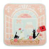 日本魔女宅急便黑貓吉吉粉色窗台純綿小方巾989257