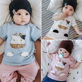 618好康鉅惠嬰兒短袖上衣6-12個月女夏季新生兒純棉薄款