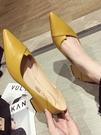 尖頭單鞋女網紅新款百搭黑色淺口粗跟高跟職業工作鞋   【全館免運】時尚