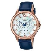 CASIO SHEEN 冷冽施華洛世奇真皮腕錶-玫瑰金X藍錶帶(SHE-3056PGL-7B)