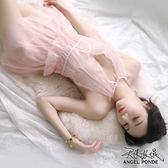天使波堤【LD0496】裸背綁薄蕾絲網紗睡裙網襪吊帶襪連身居家睡衣罩衫馬甲二件式-黑色(共四色)