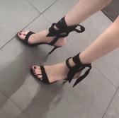 2020夏季新款小ck涼鞋一字帶蝴蝶結細跟高跟鞋學生系帶仙女風女鞋 非凡小鋪