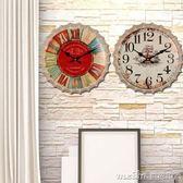 14寸復古鐘表掛鐘客廳懷舊做舊創意臥室靜音時鐘個性裝飾掛件壁掛 美芭igo