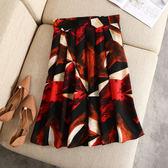 半身裙【G185】FEELNET中大尺碼女裝夏裝韓版鬆緊腰仿真絲A字半身裙 2XL~3XL
