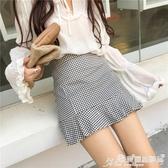 百摺裙 黑白格子短裙女學生韓版夏 學院風A字半身裙高腰百摺荷葉邊魚尾裙 愛麗絲