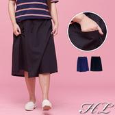.GAG GLE超大尺碼.【18060014】無印休閒風抽繩伸縮腰單口袋裙 2色