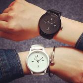 韓國原宿風素面大錶盤時尚潮流休閒簡約男錶對錶女錶學生文青手錶皮帶手表[W022]