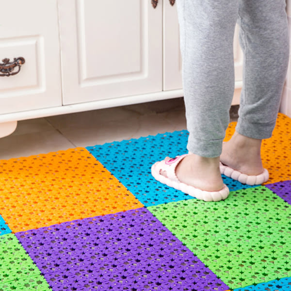 【TT】DIY腳丫自由拼接隔水按摩地墊 浴室防滑地墊 巧拼防滑墊 腳踏墊 4色可選
