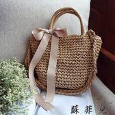 韓版小清新森繫女包側背草編包