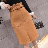 包臀裙 半身裙 長裙女秋冬款加厚高腰一步裙A字裙
