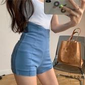 夏季緊身顯瘦A字短褲高腰側拉鏈彈力牛仔褲【時尚大衣櫥】