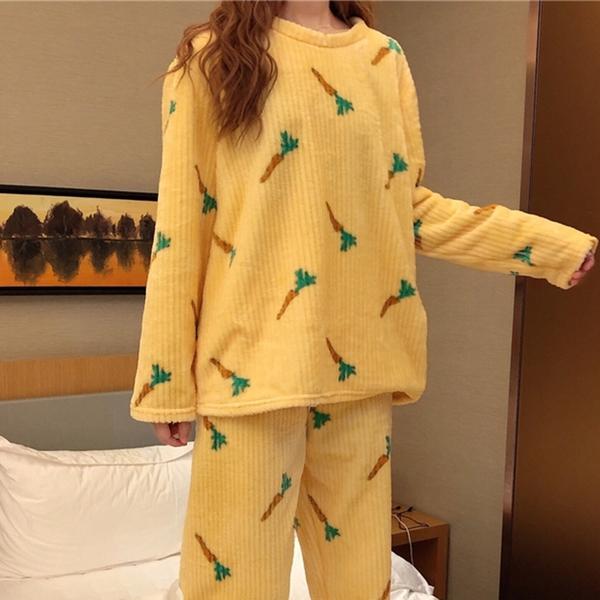 *ORead*韓版法蘭絨加厚加絨家居服兩件套裝(3色F碼)