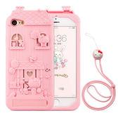 【清倉】蘋果 iPhone 7 plus 法芘兔木屋卡通帶掛繩透明女款防摔軟套 iPhone 7 Plus Fabitoo 手機殼 保護套