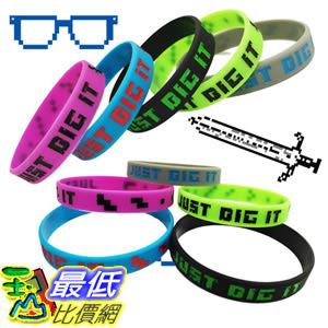 [8美國直購] 手環 Crush Retro Pixelated Party Favor Miner Silicone Wristband 8-Bit Bracelets 15-Pack