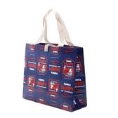 小禮堂 史努比 方形不織布便當袋 野餐袋 手提袋  購物袋 (藍紅 LOGO) 4973307-49546