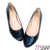 尖頭鞋-TTSNAP MIT時尚金屬爆裂紋內增高真皮平底鞋 藍