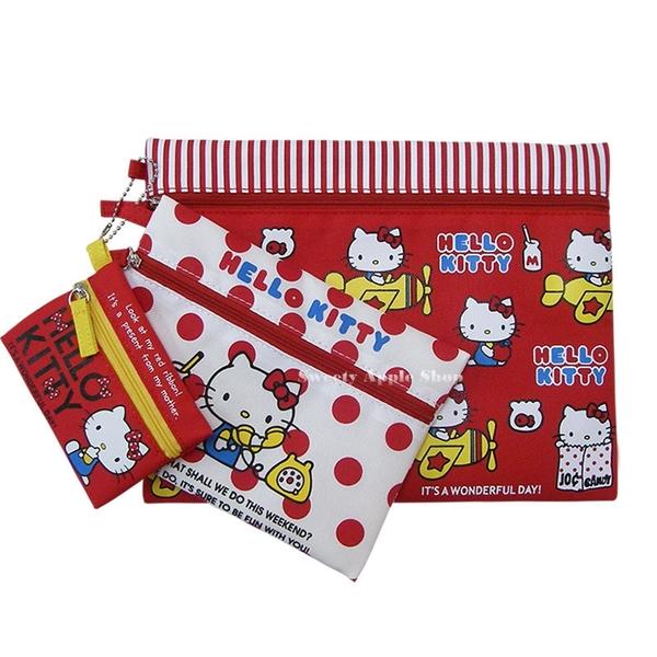 日本限定 HELLO KITTY 3入 化妝包 / 收納包 套組
