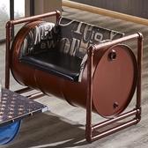 【森可家居】加侖酒紅色仿舊油桶皮沙發(單人座) 7JF154-1  工業風LOFT 皮沙發