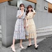 2020新款桔梗裙法式初戀裙子仙女超仙森系夏天短袖碎花雪紡洋裝【快速出貨】